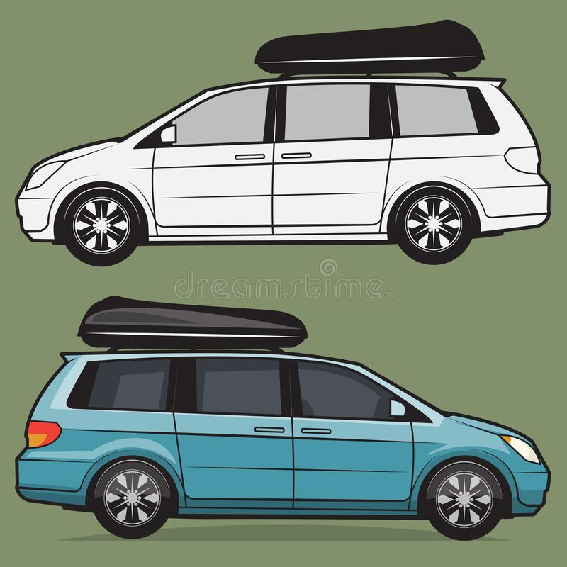 Minivan car body. Retro Travel Minivan car body, vector illustration stock illustration