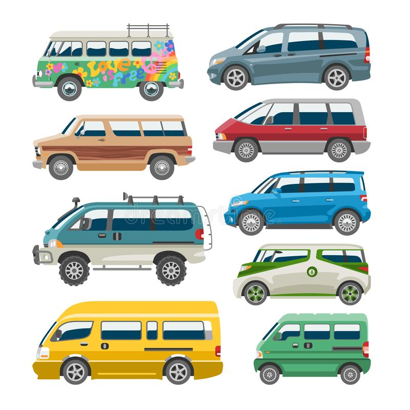 Minivan car vector van auto vehicle family minibus vehicle and automobile banner isolated citycar on white background. Illustration royalty free illustration