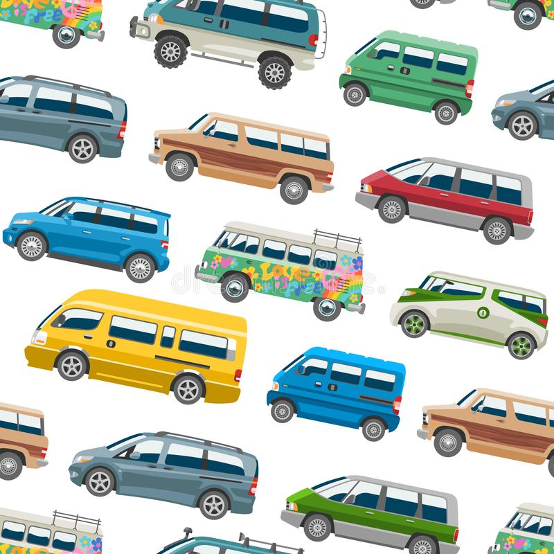 Minivan car vector van auto vehicle family minibus vehicle and automobile banner isolated citycar on white seamless. Pattern background royalty free illustration