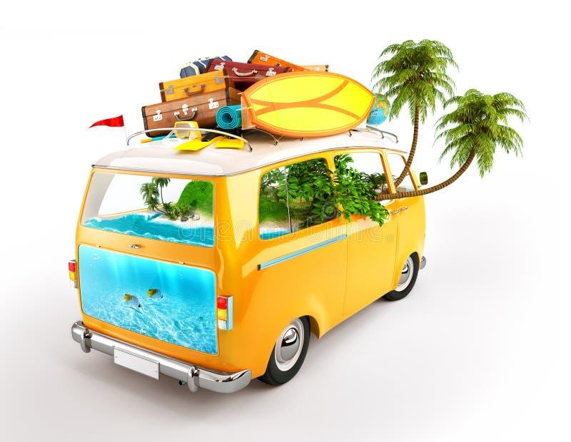 Minivan. Creative Illustration of traveling theme. Minivan with luggage and tropical island inside. Underwater world stock illustration