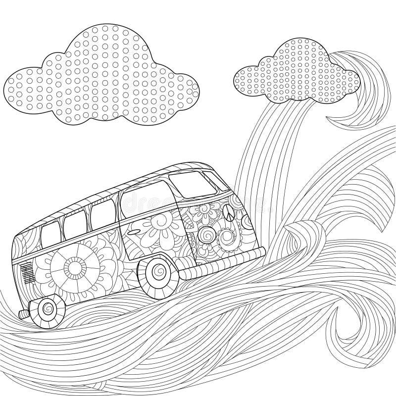Minivan för hippietappningbil på en våg i himmelvektorillustrationen stock illustrationer