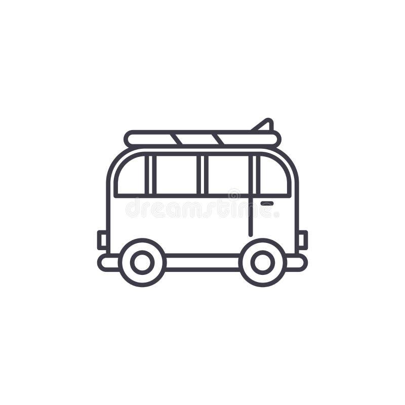 Minivan för lopplinjen symbolsbegrepp Minivan för den linjära illustrationen för loppvektor, symbol, tecken stock illustrationer