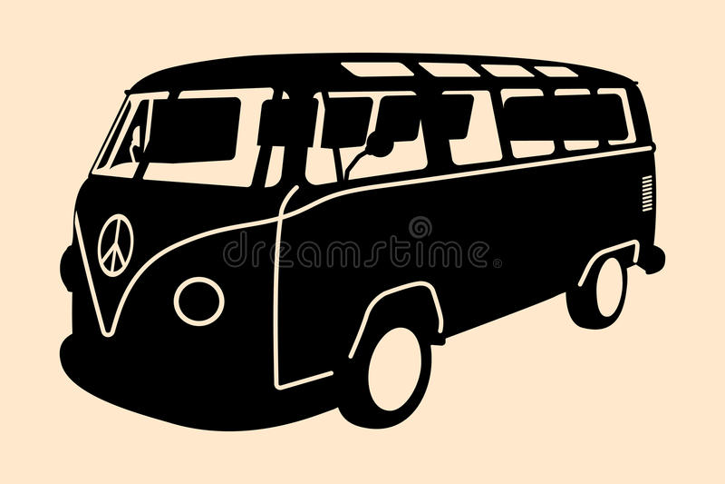 MiniVan Hippie Silhouette. Vector pop art illustration. Minivan Hippie Silhouette royalty free illustration