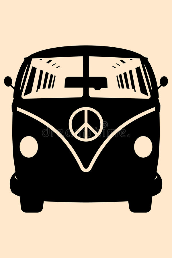 Minivan Hippie. Vector pop art illustration. Minivan Hippie Silhouette royalty free illustration