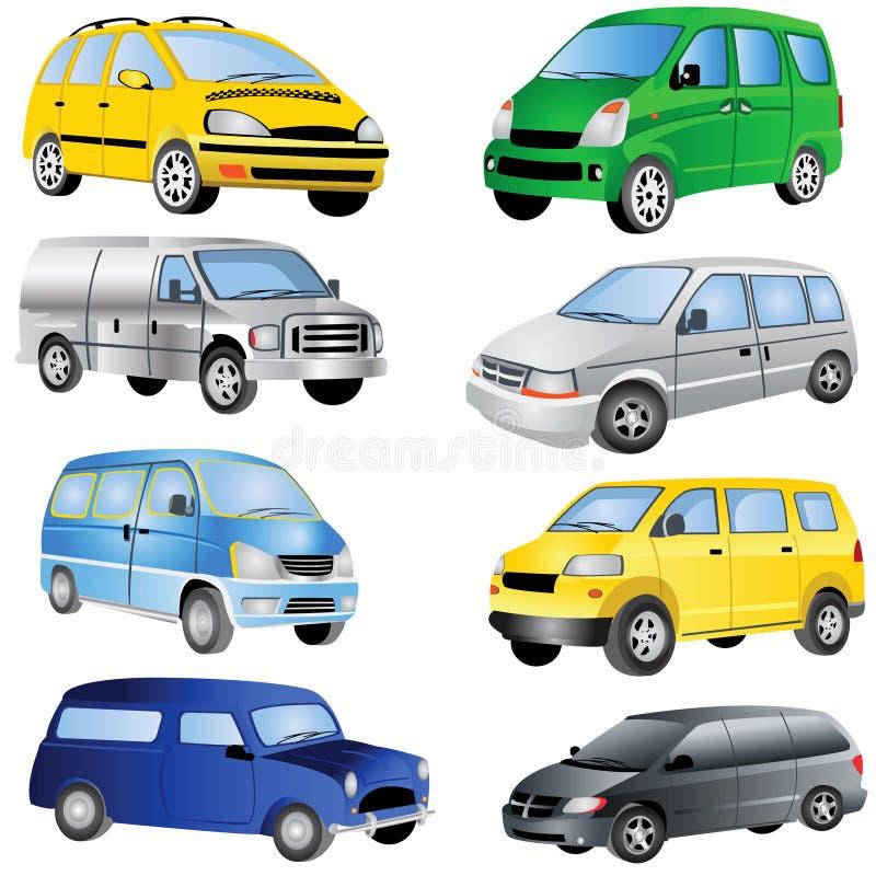 Minivan Icons Set. Vector illustration of different minivan cars isolated on white background stock illustration