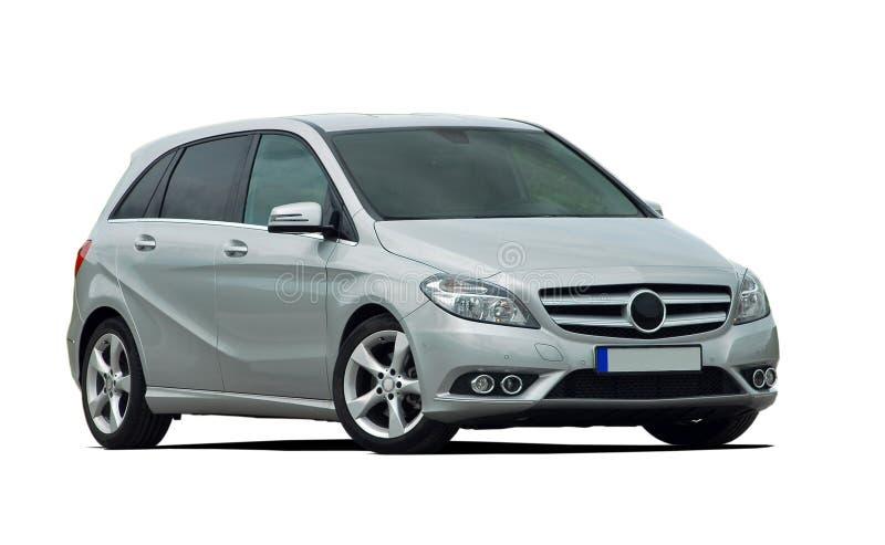Minivan, mpv, γκρίζο αυτοκίνητο που απομονώνεται στοκ εικόνα