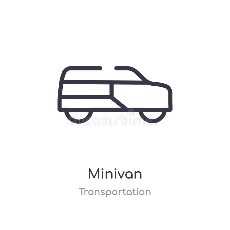 minivan outline icon. isolated line vector illustration from transportation collection. editable thin stroke minivan icon on white vector illustration