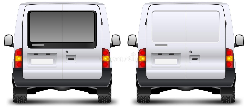 Minivan rear view. Minivan car rear view on white, vector illustration royalty free illustration