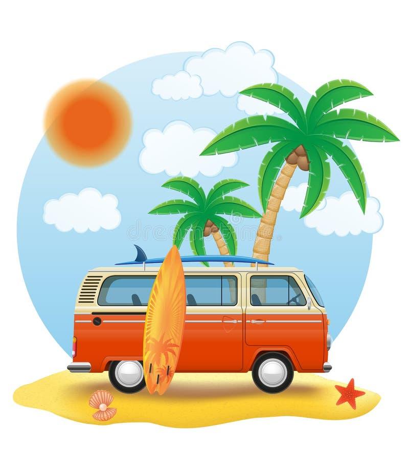 Minivan retro con una tabla hawaiana en el ejemplo del vector de la playa stock de ilustración
