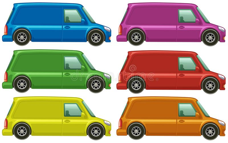 Minivan in six different colors vector illustration