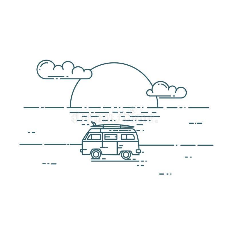 Minivan with sunset landscape. Surf van on the beach. Vector flat line illustration. Minivan with sunset landscape. Adventure and Travel concept stock illustration