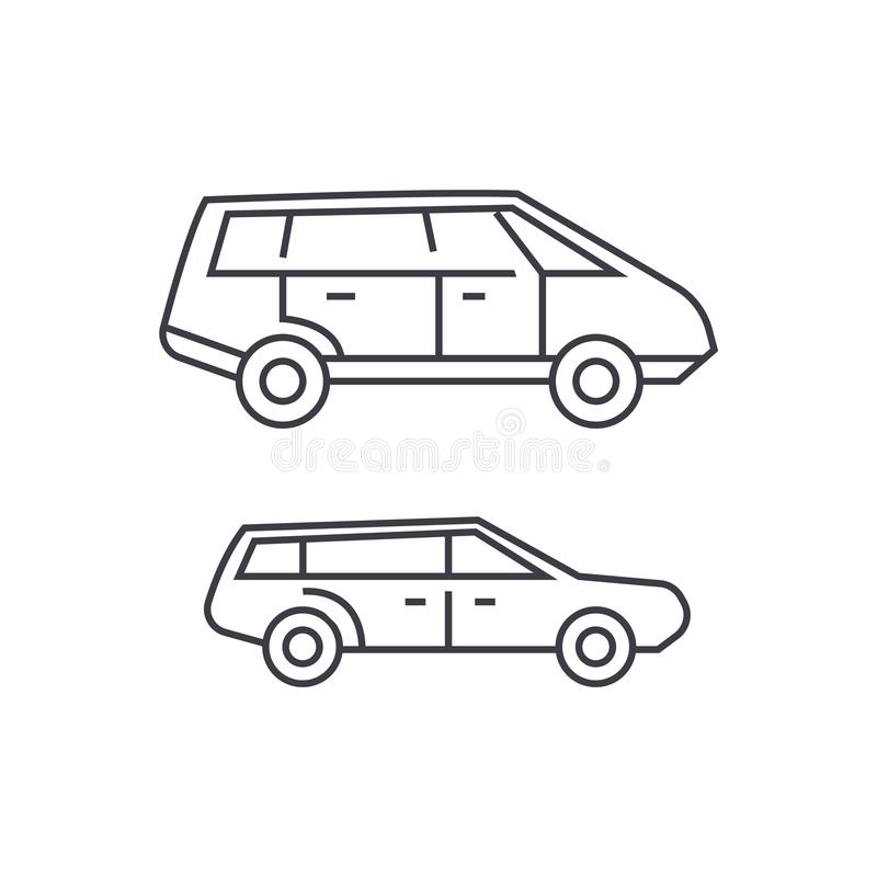 Minivan thin line icon concept. Minivan linear vector sign, symbol, illustration. stock illustration
