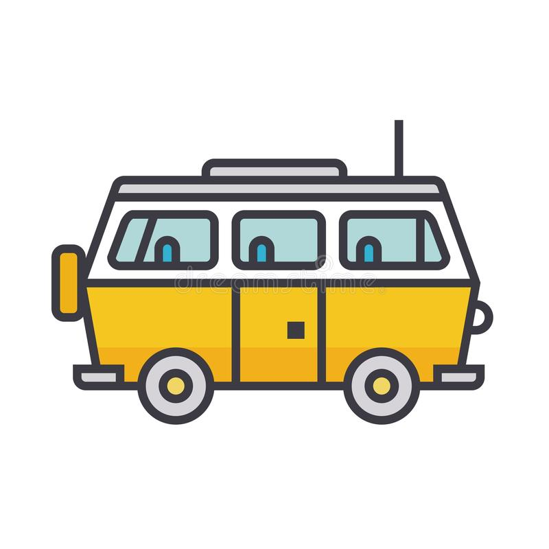 Minivan travel, family car flat line illustration, concept vector isolated icon stock illustration
