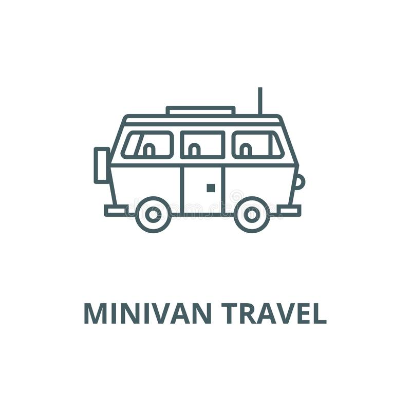 Minivan travel,family car vector line icon, linear concept, outline sign, symbol vector illustration