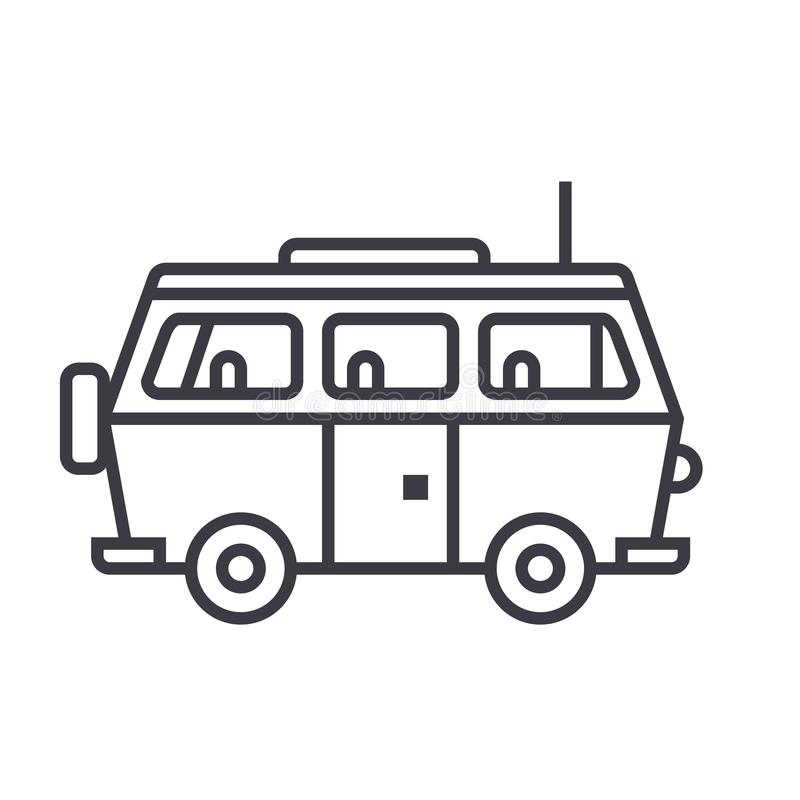 Minivan travel,family car vector line icon, sign, illustration on background, editable strokes royalty free illustration
