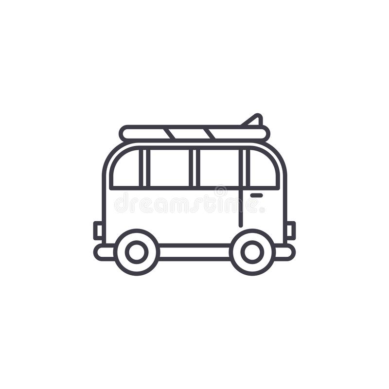 Minivan for travel line icon concept. Minivan for travel vector linear illustration, symbol, sign stock illustration