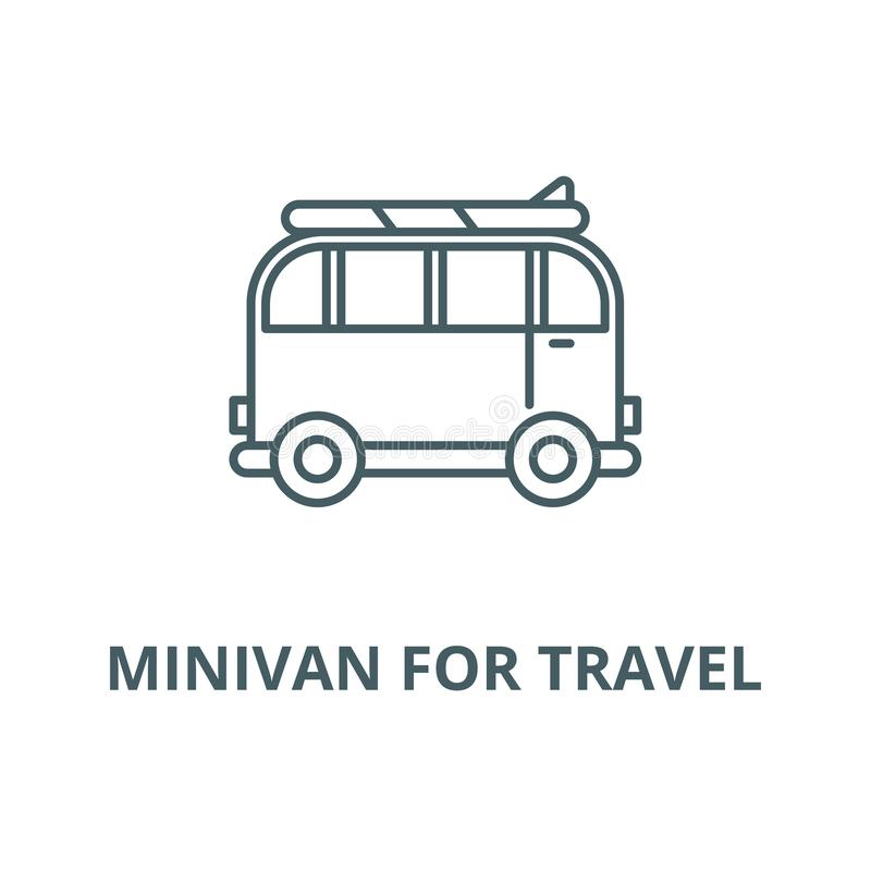 Minivan for travel vector line icon, linear concept, outline sign, symbol royalty free illustration