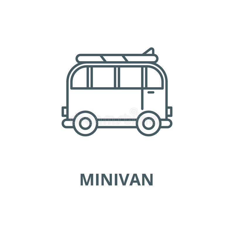 Minivan for travel vector line icon, linear concept, outline sign, symbol vector illustration