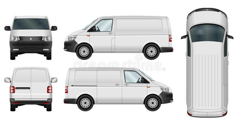 Minivan vector template. Car vector template. Cargo minivan isolated on white background. All elements in groups on separate layers. The ability to easily change stock illustration