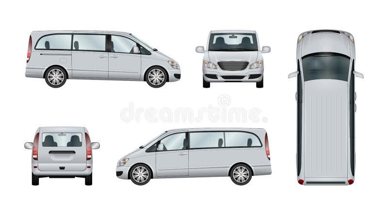 Minivan vectormalplaatje stock illustratie