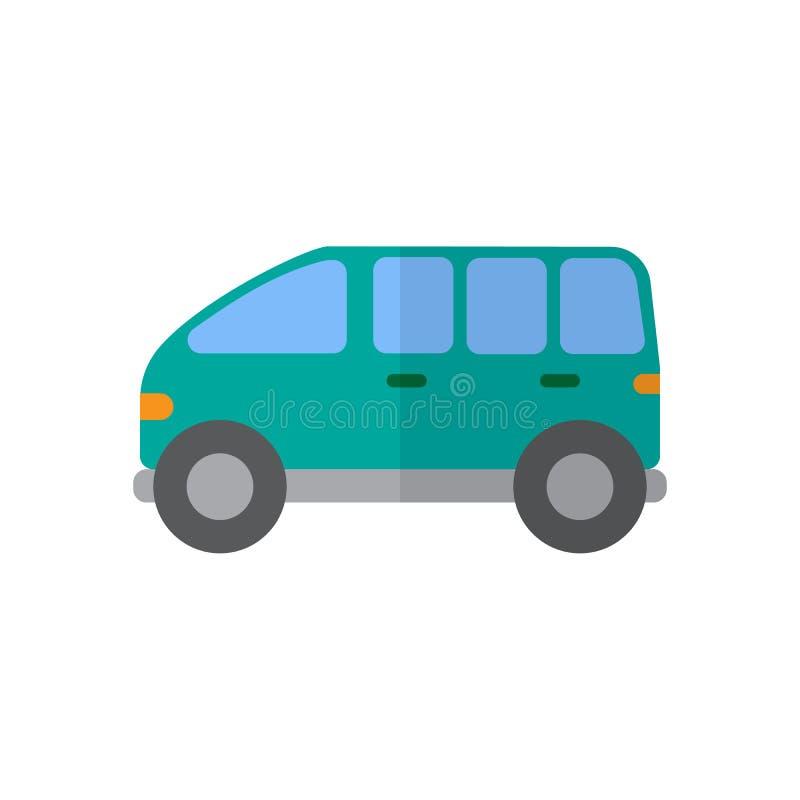 Minivan vlak pictogram, gevuld vectorteken, kleurrijk pictogram dat op wit wordt geïsoleerd vector illustratie