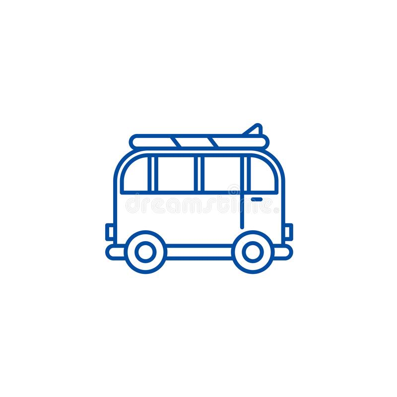 Minivan voor het pictogramconcept van de reislijn Minivan voor reis vlak vectorsymbool, teken, overzichtsillustratie vector illustratie