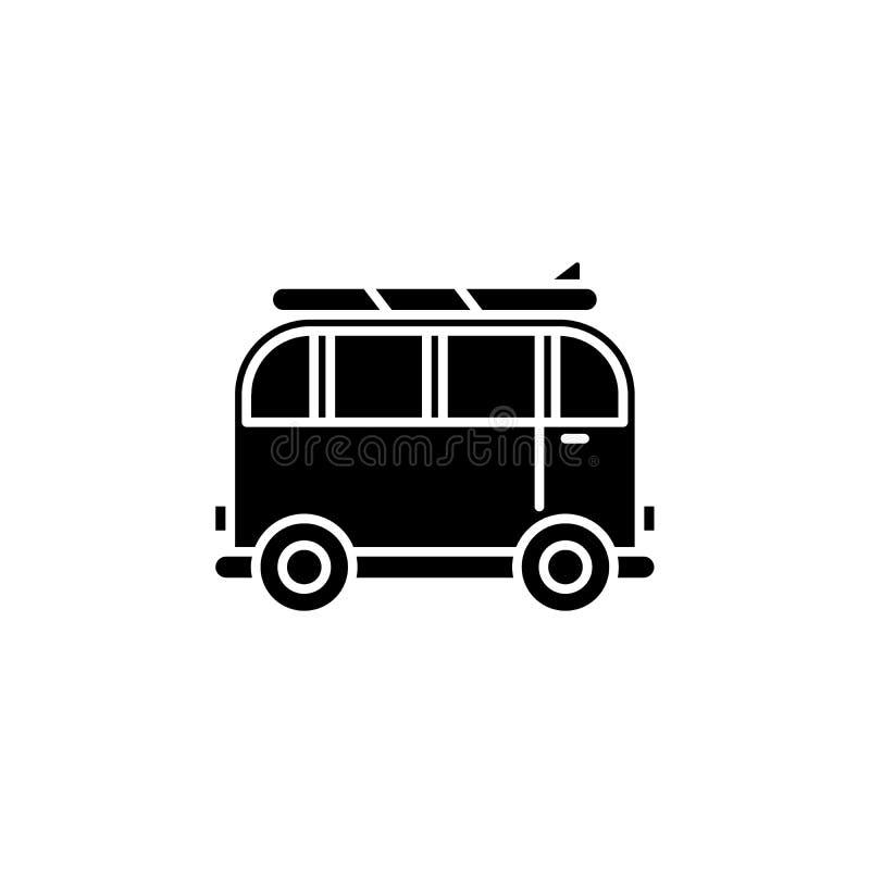 Minivan voor reis zwart pictogram, vectorteken op geïsoleerde achtergrond Minivan voor het symbool van het reisconcept, illustrat royalty-vrije illustratie