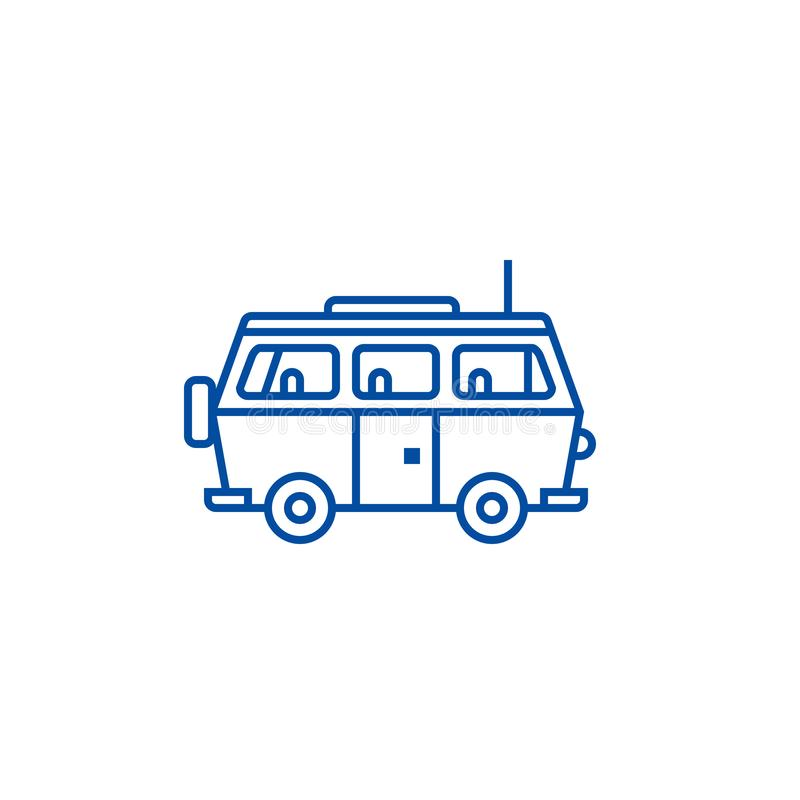 Minivanreis, het concept van het de lijnpictogram van de familieauto Minivanreis, het vlakke vectorsymbool van de familieauto, te vector illustratie