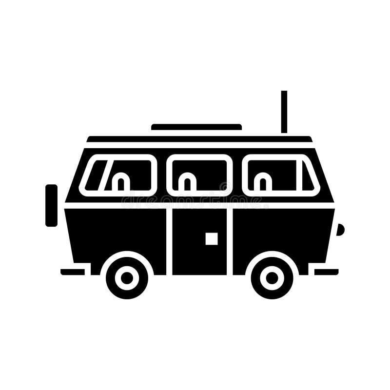 Minivanreis - het pictogram van de familieauto, vectorillustratie, zwart teken op geïsoleerde achtergrond royalty-vrije illustratie