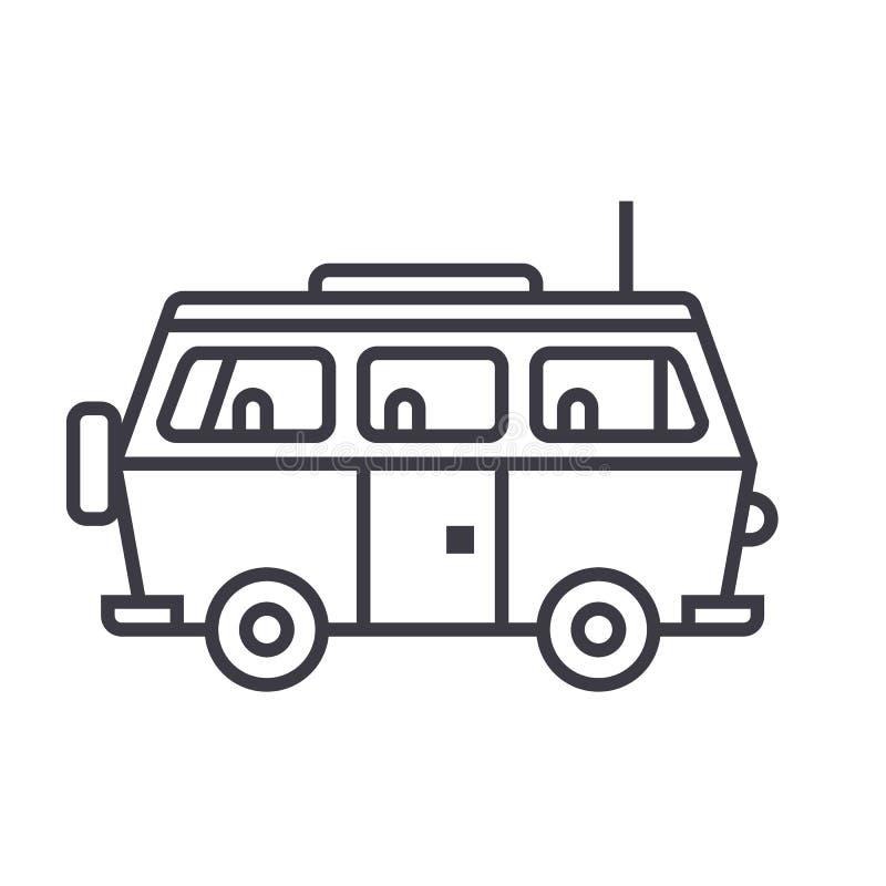Minivanreis, vector de lijnpictogram van de familieauto, teken, illustratie op achtergrond, editable slagen royalty-vrije illustratie