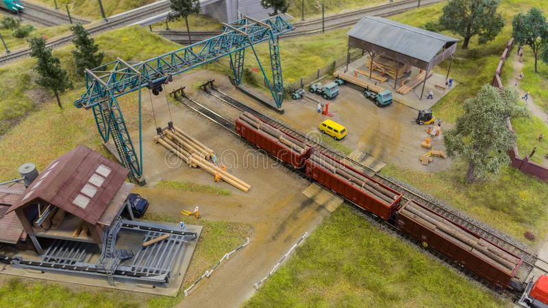 Budapest, Hungary - JUN 01, 2018: Miniversum Museum Exposition - Miniature models representation of wood cutting industry stock image