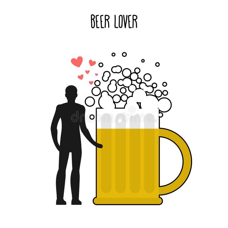 Minnaarbier Smoorverliefd met schuimende drank Mens en biermok minnaar royalty-vrije illustratie