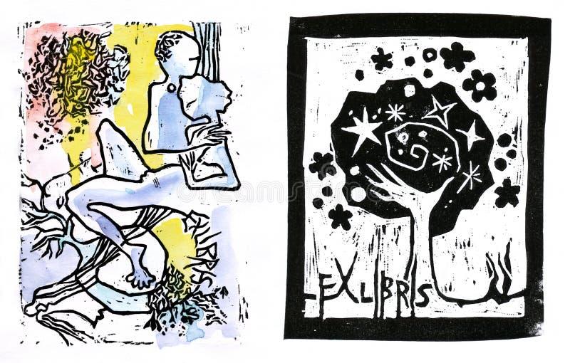 Minnaars, ex libris royalty-vrije illustratie