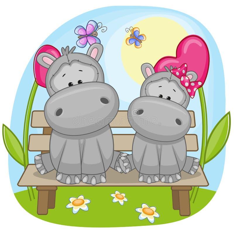 Minnaars Hippos stock illustratie