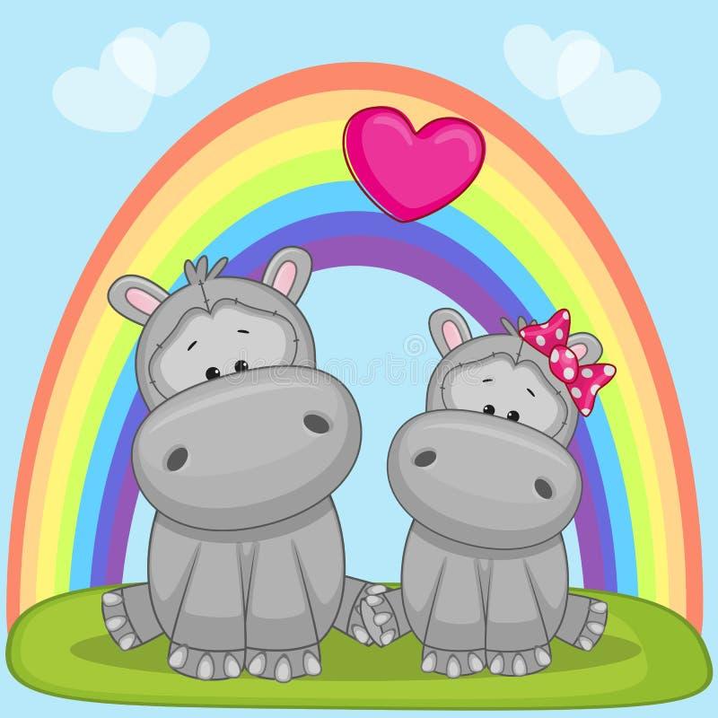 Minnaars Hippos royalty-vrije illustratie