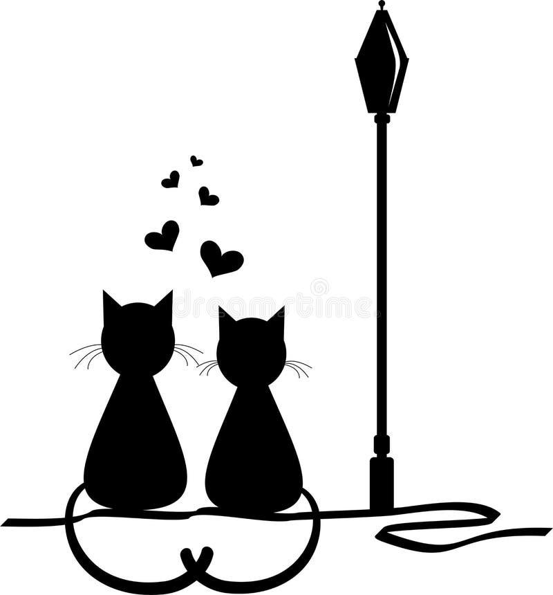 minnaars Liefde Houdende van katten Vectorillustranionconcept stock afbeelding
