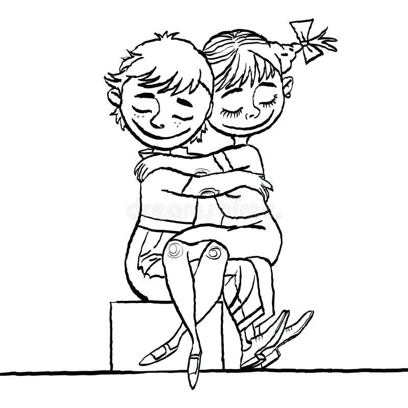 Minnaarsjongen en meisje, de vakantie van de Valentijnskaartendag stock illustratie