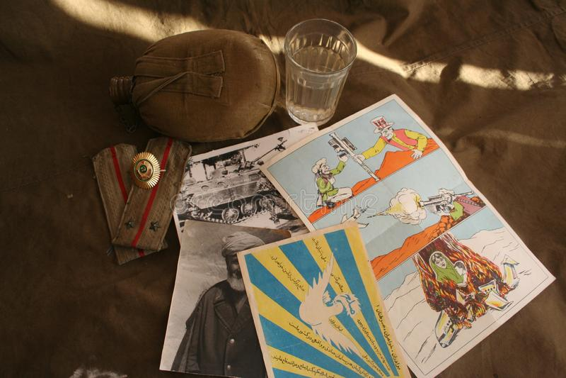 Minne av det afghanska landet och den sovjetiska armén 40 arkivbild