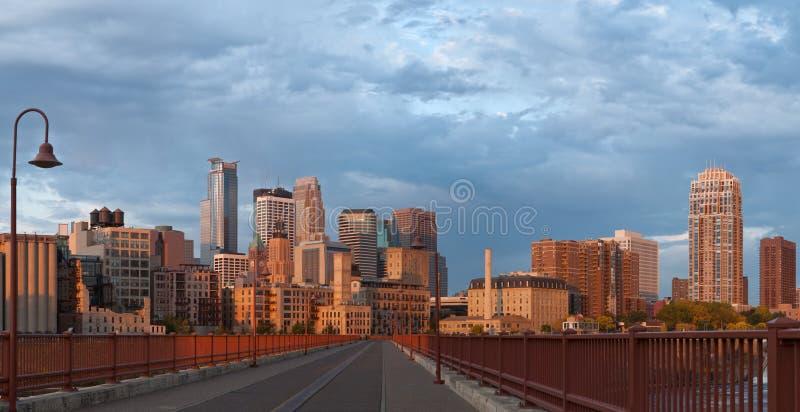 Minneapolis. Panoramic image of Minneapolis downtown at sunrise stock image