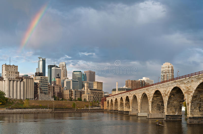 Minneapolis. Image of city of Minneapolis in the morning with rainbow royalty free stock photography