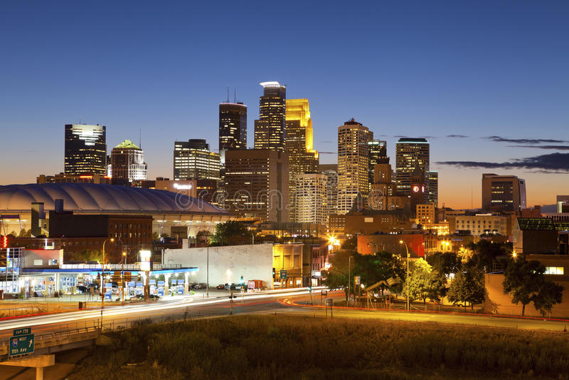 Minneapolis. Image of Minneapolis downtown at twilight stock photography