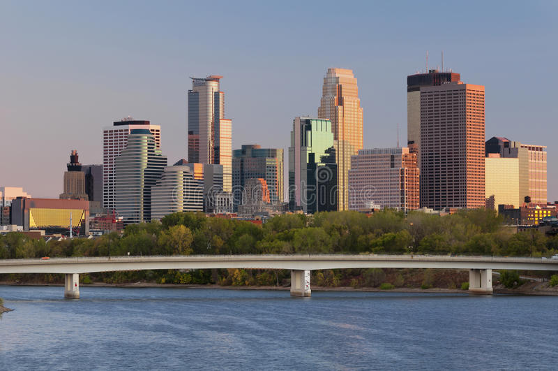 Minneapolis. Image of Minneapolis downtown skyline at sunset royalty free stock photo