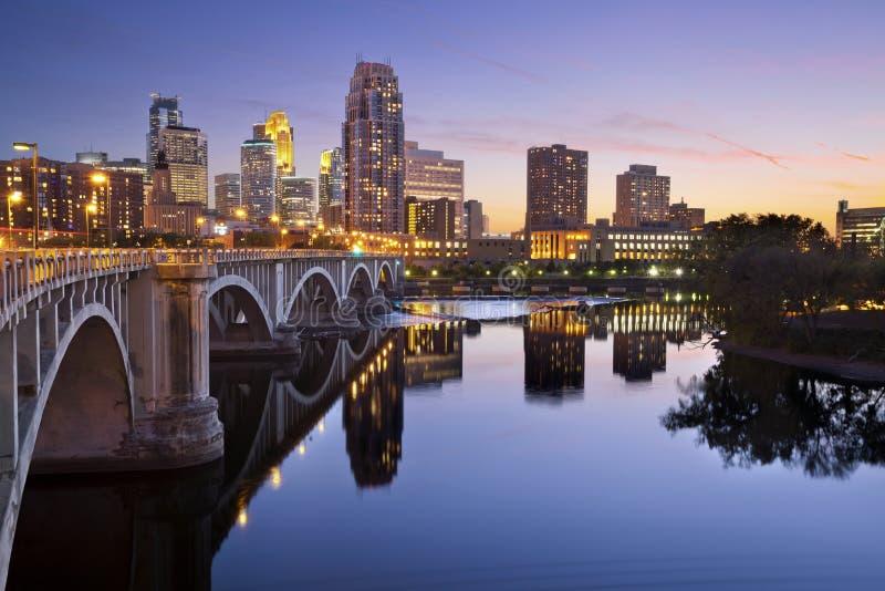 Minneapolis. Image of Minneapolis downtown skyline at sunset royalty free stock photos
