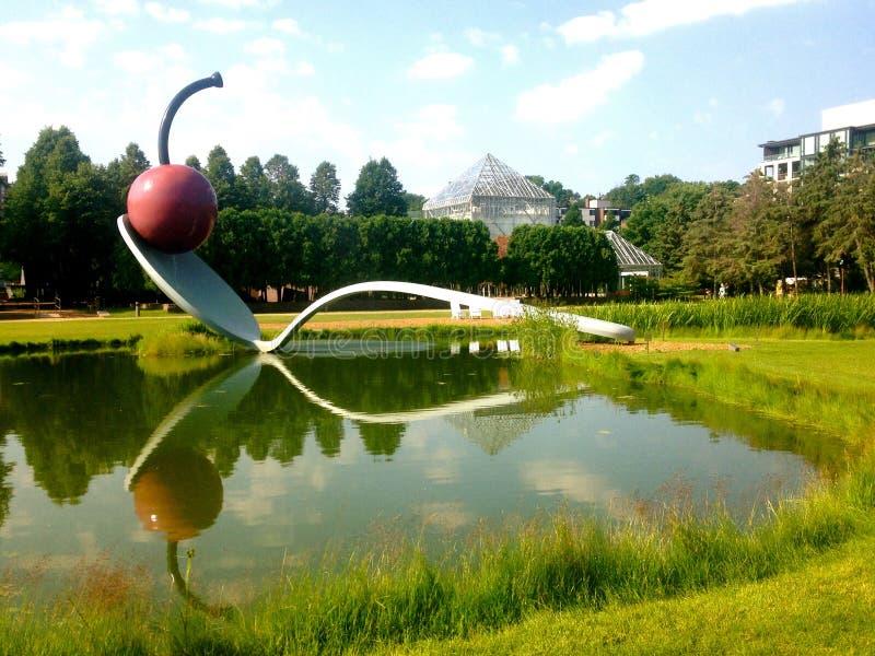 Minneapolis Cherry. Cherry sculpture in the Minneapolis sculpture garden stock photography