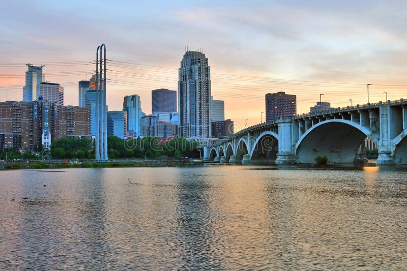 Minneapolis cityscape during colorful sunset. stock image