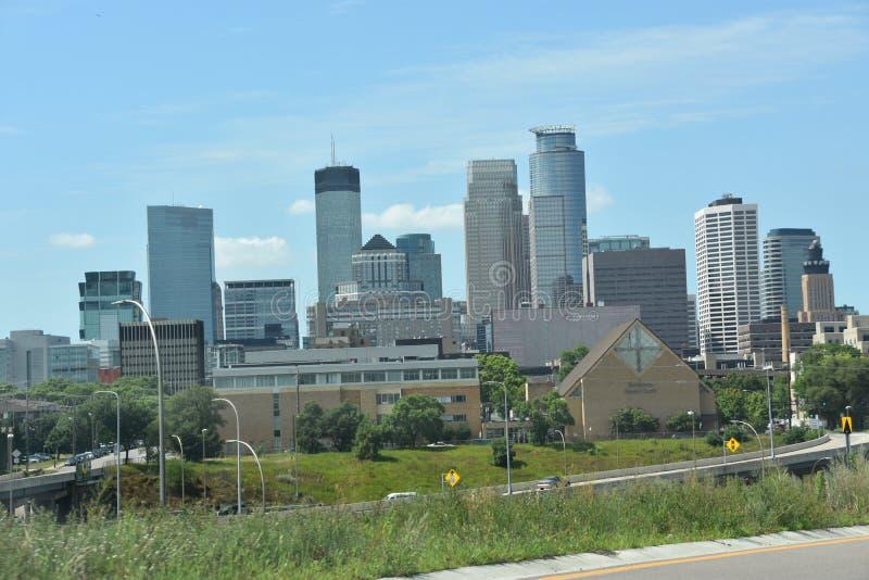 Minneapolis do centro em Minnesota fotografia de stock