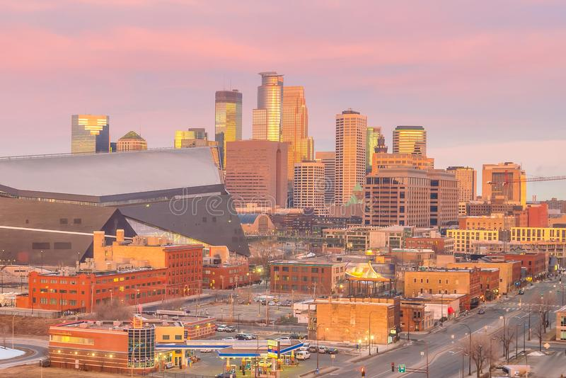 Minneapolis downtown skyline in Minnesota, USA royalty free stock image