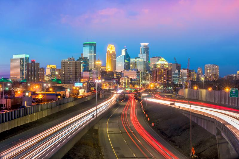 Minneapolis downtown skyline in Minnesota, USA royalty free stock image