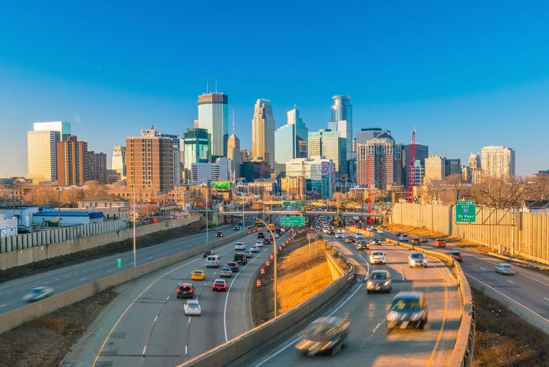 Minneapolis downtown skyline in Minnesota, USA royalty free stock photo