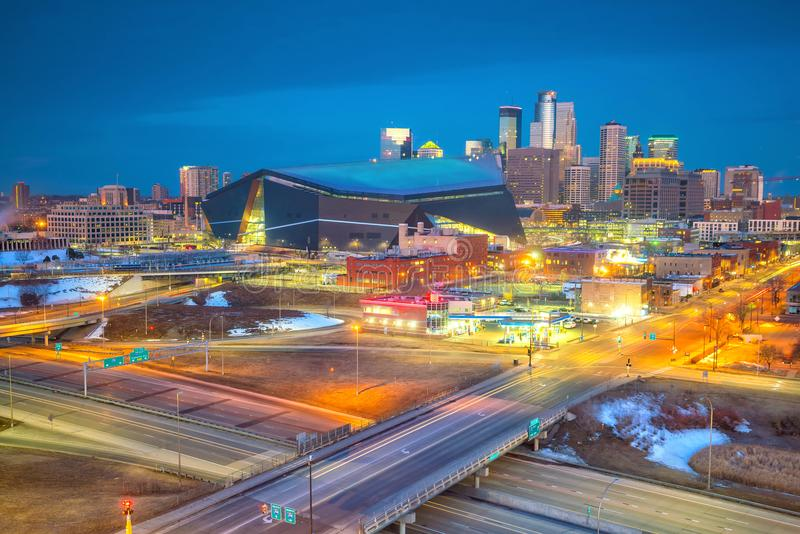 Minneapolis downtown skyline in Minnesota, USA stock images